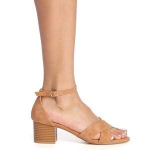 Glaze Tan Sandal Heels - Cross Strap Sandal